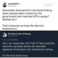 Memes, Period, and American: Jacob Wohl  Follow  @JacobAWohl  Remember that period in American history  when people were crushed by the  government and marched off to camps?  Neither do I.  That's because we have the Second  Amendment.  The Liberal Voice of Reason  @TheLiberalVOR  Replying to @JacobAWohl  Yes, I do remember the Trail of Tears and the  shameful episode where we marched  Japanese Americans into internment camps.  Sit the fuck down boy 🤦🏽‍♂️🤦🏿‍♂️🤦🏾‍♀️🤦🏻‍♂️🤦🏼‍♀️🤦🏾‍♂️🤦🏻‍♀️Sit the fuck down