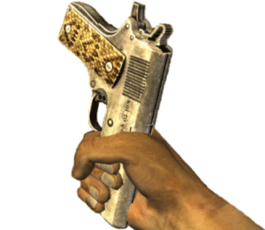 Fucking, Tumblr, and Blog: jacobtheloofah: datanazush:  chefpyro: During the Honest Hearts dlc if you tell Joshua Graham to use a melee weapon he equips a unique, unobtainable weapon called Joshua's Pistol Whippin' .45 which is just his signature gun turned so it can be used for bludgeoning and every time I remember this I'm so crushed that there's no way to obtain it without cheats Note that due to engine limitations he will in fact holster his gun and pull out this one, implying that Joshua Graham keeps an exact copy of A Light Shining In Darkness entirely to beat people with it.  in case y'all think this is a fucking joke