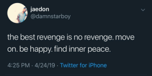 Real shit by adventuresoftors MORE MEMES: jaedon  @damnstarboy  the best revenge is no revenge. move  on. be happy. find inner peace.  4:25 PM 4/24/19 Twitter for iPhone Real shit by adventuresoftors MORE MEMES