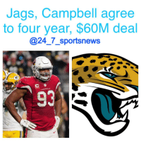 """Memes, 🤖, and Tom Coughlin: Jags, Campbell agree  to four year, $60M deal  @24 7 sports news  DINALS 247sportsnews alert: Tom Coughlin wanted the JacksonvilleJaguars to get bigger, so they signed the biggest guy available. CalaisCampbell has agreed to a four year deal worth $60M deal with the team. $30M is guaranteed. Campbell, 30, recorded 53 tackles last season for the Cardinals. The 6'8"""", 300 lb lineman also had 8.5 sacks. He's a great pass rusher and a very good run stopper, and, overall, one of the best defensive lineman in the NFL. He's perfect for Jacksonville's edge-rusher heavy 3-4 scheme."""