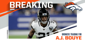 Jaguars agree to trade CB A.J. Bouye to Broncos. (via @JamesPalmerTV) https://t.co/4hWKJPH5GJ: Jaguars agree to trade CB A.J. Bouye to Broncos. (via @JamesPalmerTV) https://t.co/4hWKJPH5GJ