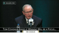 Memes, Jaguar, and Toms: JAGUARS COM  TOM COUGHLIN ASKED IF WINNING WILL BE A Focus.  I TOM COUGHLIN Tom Coughlin is as spry (and smart-mouthed) as ever.
