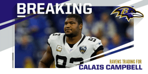 Jaguars trading Calais Campbell to the Ravens for a fifth-round pick. (via @Rapsheet + @TomPelissero) https://t.co/FvJYWHOvNS: Jaguars trading Calais Campbell to the Ravens for a fifth-round pick. (via @Rapsheet + @TomPelissero) https://t.co/FvJYWHOvNS