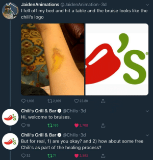 """Chilis, youtube.com, and Free: JaidenAnimations @JaidenAnimation 3d  Ifell off my bed and hit a table and the bruise looks like the  chili's logo  1,106  t02,169  23.8K  Chili's Grill & Bar  @Chilis. 3d  Hi, welcome to bruises  t185  2,768  Chili's Grill & Bar @Chilis 3d  But for real, 1) are you okay? and 2) how about some free  Chili's as part of the healing process?  32  t7,71  2,382 Chili's helps youtube animator """"JaidenAnmations"""" in injury recovery!"""