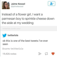 Best Tweets: Jaime Kessel  @jaimekessel  Instead of a flower girl, I want a  parmesan boy to sprinkle cheese down  the aisle at my wedding  twitter lols tumblr.com/  A twitterlols  ok this is one of the best tweets I've ever  seen  Source: twitterols  19,426 notes