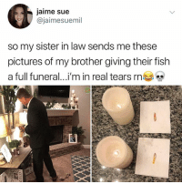 Crying, Memes, and Fish: jaime sue  jaimesuemil  so my sister in law sends me these  pictures of my brother giving their fish  a full funeral.. I'm in real tears rn Why am I crying on this boat rn