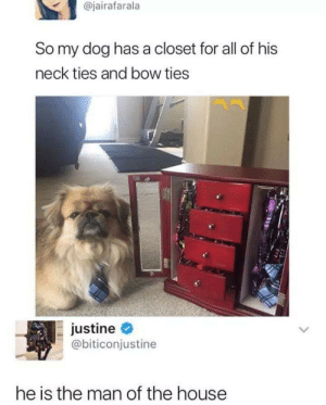 Justine: @jairafarala  So my dog has a closet for all of his  neck ties and bow ties  justine  @biticonjustine  he is the man of the house