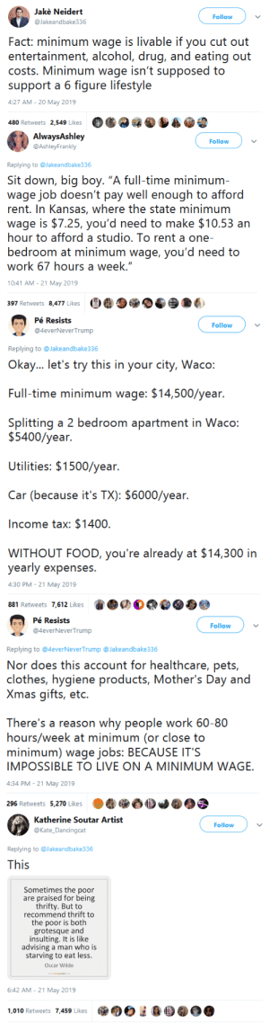 "Clothes, Food, and Logic: Jakè Neidert  Follow  @Jakeandbake336  Fact: minimum wage is livable if you cut out  entertainment, alcohol, drug, and eating out  costs. Minimum wage isn't supposed to  support a 6 figure lifestyle  4:27 AM-20 May 2019  480 Retweets 2,549 Likes   AlwaysAshley  @AshleyFrankly  Follow  Replying to @Jakeandbake336  Sit down, big boy. ""A full-time minimum-  wage job doesn't pay well enough to afford  rent. In Kansas, where the state minimum  wage is $7.25, you'd need to make $10.53 an  hour to afford a studio. To rent a one-  bedroom at minimum wage, you'd need to  work 67 hours a week.""  10:41 AM - 21 May 2019  397 Retweets 8,477 Likes   Pé Resists  Follow  @4everNeverTrump  Replying to @Jakeandbake336  Okay... let's try this in your city, Waco:  Full-time minimum wage: $14,500/year.  Splitting a 2 bedroom apartment in Waco:  $5400/year.  Utilities: $1500/year.  Car (because it's TX): $6000/year.  Income tax: $1400  WITHOUT FOOD, you're already at $14,300 in  yearly expenses.  4:30 PM 21 May 2019  881 Retweets 7,612 Likes   Pé Resists  Follow  @4everNeverTrump  Replying to @4everNeverTrump @Jakeandbake336  Nor does this account for healthcare, pets,  clothes, hygiene products, Mother's Day and  Xmas gifts, etc.  There's a reason why people work 60-80  hours/week at minimum (or close to  minimum) wage jobs: BECAUSE IT'S  IMPOSSIBLE TO LIVE ON A MINIMUM WAGE.  4:34 PM -21 May 2019  296 Retweets 5,270 Likes   Katherine Soutar Artist  Follow  @Kate_Dancingcat  Replying to @Jakeandbake336  This  Sometimes the poor  are praised for being  thrifty. But to  recommend thrift to  the poor is both  grotesque and  insulting. It is like  advising a man who is  starving to eat less.  Oscar Wilde  www.m ne  6:42 AM  21 May 2019  1,010 Retweets 7,459 Likes gahdamnpunk: Why is conservative logic pretty much ""you can live on a minimum wage if you cut out LIVING""??"