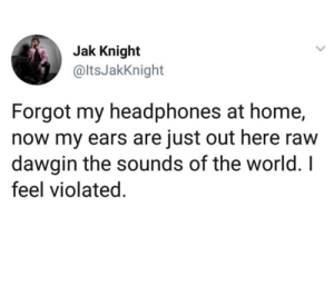 Headphones, Home, and World: Jak Knight  @ltsJakKnight  Forgot my headphones at home,  now my ears are just out here raw  dawgin the sounds of the world. I  feel violated. My thoughts  prayers are with those ears