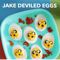 Dank, 🤖, and Deviled Eggs: JAKE DEVILED EGGS Jake Deviled Eggs for the big game tomorrow! Who wants to make these?🥚🏈 #SuperBowl #SB51