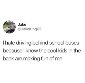 Driving, School, and Cool: Jake  @JakeKing65  I hate driving behind school buses  because l know the cool kids in the  back are making fun of me Meirl