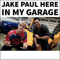 Memes, Jake Paul, and 🤖: JAKE PAUL HERE  IN MY GARAGE If you want to start vlogging keep it entertaining... @jakepaul lamborghiniaventador