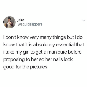 Memes, Twitter, and Girl: jake  @squidslippers  i don't know very many things but i do  know that it is absolutely essential that  i take my girl to get a manicure before  proposing to her so her nails look  good for the pictures this is a non-negotiable 💍 (@squidslippers on Twitter)
