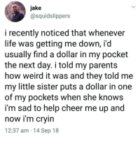 Life, Memes, and Parents: jake  @squidslippers  i recently noticed that whenever  life was getting me down, i'd  usually find a dollar in my pocket  the next day. i told my parents  how weird it was and they told me  my little sister puts a dollar in one  of my pockets when she knows  im sad to help cheer me up and  now im cryin  12:37 am 14 Sep 18 Wholesome 😊
