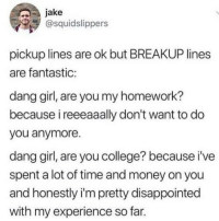 College, Disappointed, and Memes: jake  @squidslippers  pickup lines are ok but BREAKUP lines  are fantastic:  dang girl, are you my homework?  because i reeeaaally don't want to do  you anymore.  dang girl, are you college? because i've  spent a lot of time and money on you  and honestly i'm pretty disappointed  with my experience so far. 😂😂😂 @epicfunnypage is literally the funniest page 👌🏻👌🏻