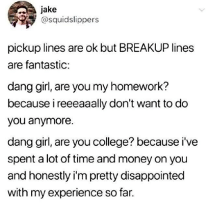 College, Disappointed, and Money: jake  @squidslippers  pickup lines are ok but BREAKUP lines  are fantastic:  dang girl, are you my homework?  because i reeeaaally don't want to do  you anymore  dang girl, are you college? because i've  spent a lot of time and money on you  and honestly i'm pretty disappointed  with my experience so far.