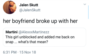 It be like that by theabdi MORE MEMES: Jalen Skutt  @JalenSkutt  her boyfriend broke up with her  Martini @AlexxxMartinezz  This girl unblocked and added me back on  snap what's that mean?  6:31 PM-15 Nov 18 It be like that by theabdi MORE MEMES
