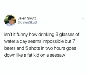 credit and consent: @JaIenSkutt on Twitter: Jalen Skutt  @JalenSkutt  isn't it funny how drinking 8 glasses of  water a day seems impossible but 7  beers and 5 shots in two hours goes  down like a fat kid on a seesaw credit and consent: @JaIenSkutt on Twitter