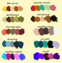Pizza, Target, and Tumblr: Jam pizza  gummy worms  apothecary  mechanical  morning glory  wedding blues  arowning  co-pilot  bowling carpet  motel bpdcraigtucker:  UWU,, some palettes! please reblog this instead of uhh saving and re-uploading these were really fun but took me a hot minute to come up with so!