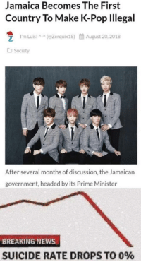 👏🏻 WE 👏🏻 NEED 👏🏻 THIS 👏🏻: Jamaica Becomes The First  Country To Make K-Pop lllegal  1.m Luis! ^-^(@Zerquix18)  餔August 20, 2018  Society  After several months of discussion, the Jamaican  government, headed by its Prime Minister  BREAKING NEWS  SUICIDE RATE DROPS TO 0% 👏🏻 WE 👏🏻 NEED 👏🏻 THIS 👏🏻