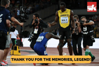 Memes, Usain Bolt, and Thank You: JAMAICA  TDK  BOLT  LONDON 207  9  AAF  THANK YOU FOR THE MEMORIES, LEGEND! 11-time world Champion, eight-time Olympic champion and the greatest sprinter the world has ever seen!  Take a bow, Usain Bolt.