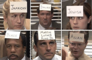 fakehistory:  Starbucks racial-bias training day. (2018): JAMAICAN  TALIAN  JEWISH  MARTIN  LUTHER  KING JR  BLACK  ASIAN fakehistory:  Starbucks racial-bias training day. (2018)