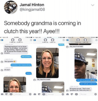 Grandma, My House, and Thanksgiving: Jamal Hinton  @kingjamal08  Somebody grandma is coming in  clutch this year!! Ayee!!!  12 520  12 s2M  12 52 PM  4804  outo  Yeshere rm at work  Thanksgiving dinner is at my house  on Nov. 24 at 300pm. Let me know  t you're coming. Hope to see you  al, Of courso that includes Amands  & Justin  GN  Who is thos8  2 Your grandma  Grondma? Can I havo a picturo  of who?  Yes, here rm at work  You not my grandma  Can Istill get a plate tho?  Of course you can. Thot's what  candma's do. feed every one  9055500  Message  0 MY HEART IS SO WARM