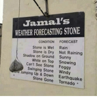 Earthquake, Forecast, and The Weather: Jamal's  WEATHER FORECASTING STONE  CONDITION FORECAST  Stone is Wet Rairn  Stone is Dry Not Raining  Sunny  Snowing  Shadow on Ground  White on Top  Can't See Stone Foggy  Swinging Stone Windy  Jumping Up & Down  Earthquake  Stone Gone Tornado The Weather Stone™
