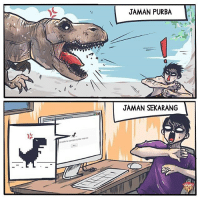 Memes, 🤖, and Ied: JAMAN PURBA  JAMAN SEKARANG  Unable to connect to the Ie ya begitulah komikinajah maleminajah by @komikbangkek
