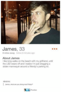 Friday, Wendys, and Beach: James, 33  8 miles away Active 9 minutes ago  About James  like long walks on the beach with my girlfriend, until  the LSD wears off and realize I'm just dragging a  stolen mannequin around a Wendy's parking lot.  alpojones  James, what are you doing next Friday?  Postize
