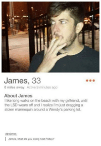 Friday, Wendys, and Beach: James, 33  8 miles away Active 9 minutes ago  About James  I like long walks on the beach with my girlfriend, until  the LSD wears off and I realize I'm just dragging a  stolen mannequin around a Wendy's parking lot.  alpojones  James, what are you doing next Friday?