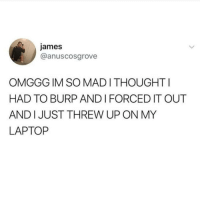 Memes, Laptop, and 🤖: james  @anuscosgrove  OMGGG IM SO MADI THOUGHTI  HAD TO BURP AND I FORCED IT OUT  AND I JUST THREW UP ON MY  LAPTOP Don't follow @blazing if you're easily offended 🔞🤯
