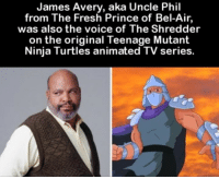 OMG 😮: James Avery, aka Uncle Phil  from The Fresh Prince of Bel-Air  was also the voice of The Shredder  on the original Teenage Mutant  Ninja Turtles animated TV series. OMG 😮