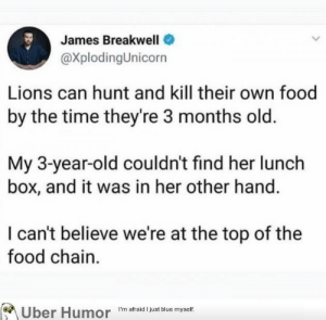Food, Tumblr, and Uber: James BreakwelI  @XplodingUnicorn  Lions can hunt and kill their own food  by the time they're 3 months old.  My 3-year-old couldn't find her lunch  box, and it was in her other hand.  I can't believe we're at the top of the  food chain.  Uber Hudr  I'm afraid 1 just blue myself failnation:  King of the jungle