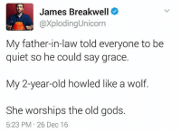 Memes, Quiet, and Unicorn: James Breakwell  axploding Unicorn  My father-in-law told everyone to be  quiet so he could say grace.  My 2-year-old howled like a wolf  She worships the old gods.  5:23 PM 26 Dec 16 🤙🏻