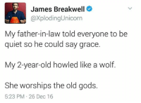 Quiet, Unicorn, and Wolf: James Breakwell  axploding Unicorn  My father-in-law told everyone to be  quiet so he could say grace.  My 2-year-old howled like a wolf.  She worships the old gods.  5:23 PM 26 Dec 16 Sent in by John Burns!