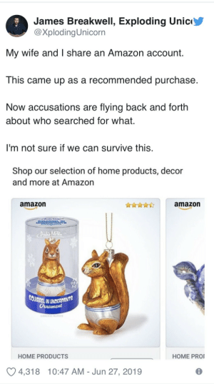 Squirrel: James Breakwell, Exploding Unic  @XplodingUnicorn  My wife and I share an Amazon account.  This came up as a recommended purchase  Now accusations are flying back and forth  about who searched for what.  I'm not sure if we can survive this.  Shop our selection of home products, decor  and more at Amazon  amazon  amazon  UN  Andhis MetRe  SQUIRREL IN UNDERDANTS  Оннатеd  OARCHE MPHEE  HOME PRO  HOME PRODUCTS  4,318  10:47 AM Jun 27, 2019