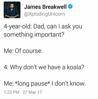 GUYS I FUCKING LOVE THIS GUYS KIDS -m: James Breakwell  @XplodingUnicorn  4-year-old: Dad, can I ask you  something important?  Me: Of course.  4: Why don't we have a koala?  Me: *long pause* I don't know.  1:22 PM 27 Mar 17 GUYS I FUCKING LOVE THIS GUYS KIDS -m