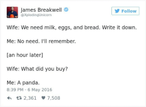 An Hour Later: James Breakwell  @XplodingUnicorn  Follow  Wife: We need milk, eggs, and bread. Write it down.  Me: No need. I'Il remember.  an hour later  Wife: What did you buy?  Me: A panda.  8:39 PM - 6 May 2016  h 2,361 7,508
