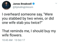"""Tumblr, Blog, and Flowers: James Breakwell  @XplodingUnicorn  I overheard someone say, """"Were  you stabbed by two wives, or did  one wife stab you twice?""""  That reminds me, I should buy my  wife flowers.  10:43 AM-13 Oct 17 <p><a href=""""http://theaccidentalstarthrower.tumblr.com/post/166365907995/i-did-this-today-for-these-reasons"""" class=""""tumblr_blog"""">theaccidentalstarthrower</a>:</p>  <blockquote><p>I did this today. For these reasons. </p></blockquote>"""