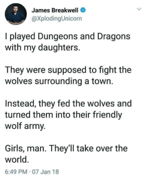 Girlzzz: James Breakwell  @XplodingUnicorn  I played Dungeons and Dragons  with my daughters.  They were supposed to fight the  wolves surrounding a town.  Instead, they fed the wolves and  turned them into their friendly  wolf army.  Girls, man. They ll take over the  world.  6:49 PM 07 Jan 18 Girlzzz