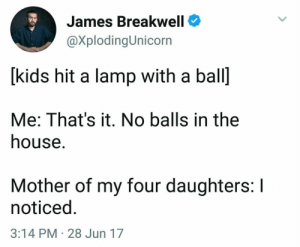 House, Kids, and Mother: James Breakwell  @XplodingUnicorn  [kids hit a lamp with a ball  Me: That's it. No balls in the  house.  Mother of my four daughters: I  noticed  3:14 PM 28 Jun 17 😂😂😂😂😂🙋youuuuuu