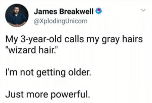"Hair, Old, and Powerful: James Breakwell  @XplodingUnicorn  My 3-year-old calls my gray hairs  ""wizard hair.""  I'm not getting older.  Just more powerful. Just getting more powerful"