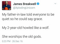 Quiet, Wolf, and Old: James Breakwell  XplodingUnicorn  My father-in-law told everyone to be  quiet so he could say grace  My 2-year-old howled like a wolf.  She worships the old gods.  5:23 PM 26 Dec 16 https://t.co/iYBH5YUtTi