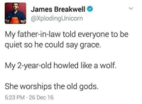 Memes, Quiet, and Wolf: James Breakwell  @XplodingUnicorn  My father-in-law told everyone to be  quiet so he could say grace.  My 2-year-old howled like a wolf  She worships the old gods.  5:23 PM 26 Dec 16 Memes.