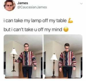 Dank, Memes, and Target: James  @CaucasianJames  i can take my lamp off my table  but i can't take u off my mind me🛋️irl by PhantomFuck MORE MEMES