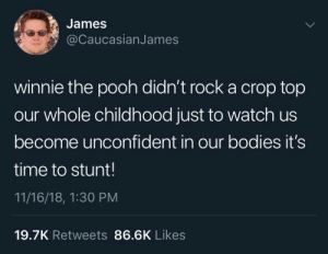 Bodies , Winnie the Pooh, and Time: James  @CaucasianJames  winnie the pooh didn't rock a crop top  our whole childhood just to watch us  become unconfident in our bodies it's  time to stunt!  11/16/18, 1:30 PM  19.7K Retweets 86.6K Likes