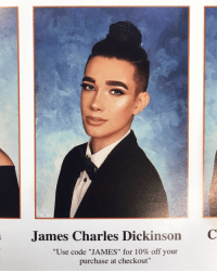 "James Charles: James Charles Dickinson  C  ""Use code ""JAMES"" for 10% off your  purchase at checkout"""