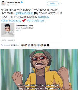James Charles Follow Hi Sisters Minecraft Monday Is Now