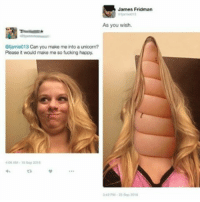 Memes, Unicorn, and 🤖: James Fridman  As you wish.  @famie013 Can you make me into a unicorn?  Please it would make me so fucking happy.  4:00 AM 1 Sep 2016 I can't😂 -Kai Credit to @fjamie013